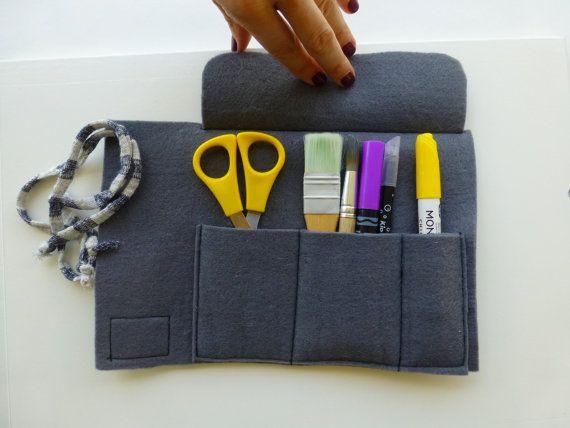 Pencil roll felt pen and tools roll case grey by ElliandPaul