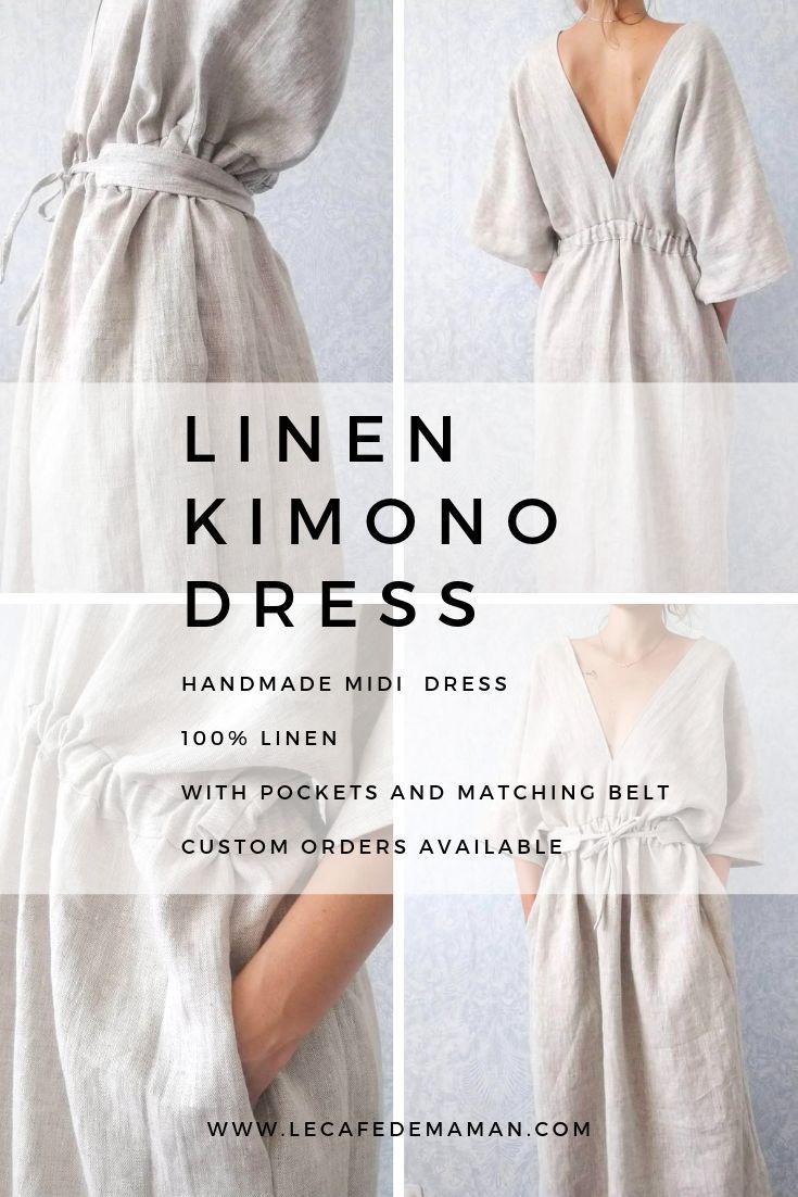 Ropa de mujer de lino de Le caf  de maman, vestido atemporal hecho a mano en 100% li …