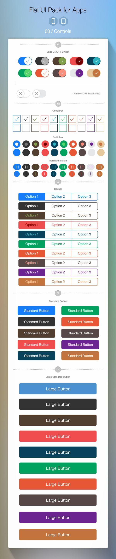 iOS 7 Controls, #ios7 #kit #ui #graphic #flat #design