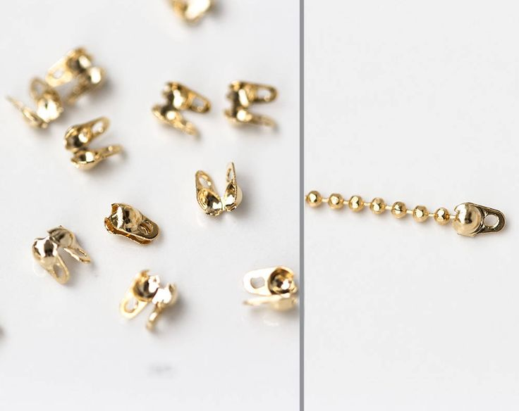 2619_Gold calotte ends 4x2.5 mm, Gold plated callote, Ball chain connector clasps, Crimps bead tips, Glossy calotte for jewelry making_2g. by PurrrMurrr on Etsy