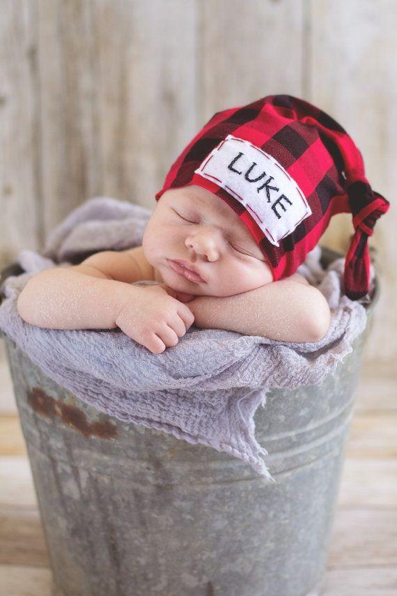 Handmade baby boy personalized newborn hat buffalo plaid by LittleOnesLove on Etsy