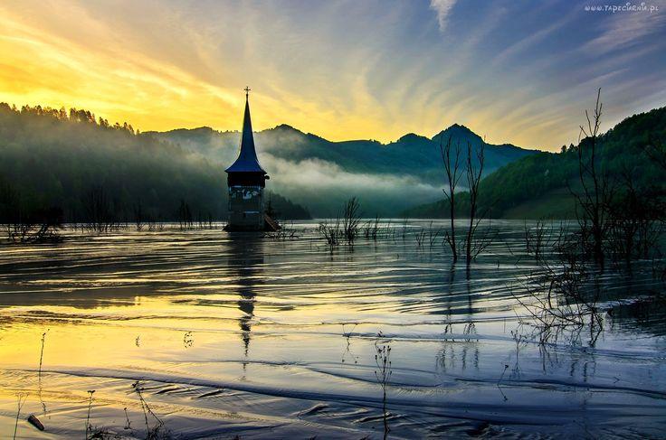 Jezioro, Góry, Mgła, Cerkiew, Przebijające, Światło