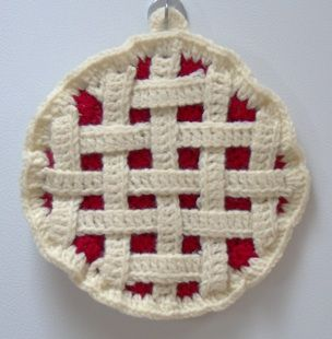 crochet a pie!  Potholder pattern (one change: You'll need 4 short crust pieces, not 2).