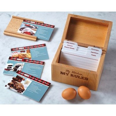Cake Boss Countertop Accessories Beechwood Recipe Box with My Kitchen-My Rules