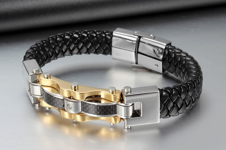 Mens black leather bracelet tribal braided cuff bangle stainless steel button me…   – Products