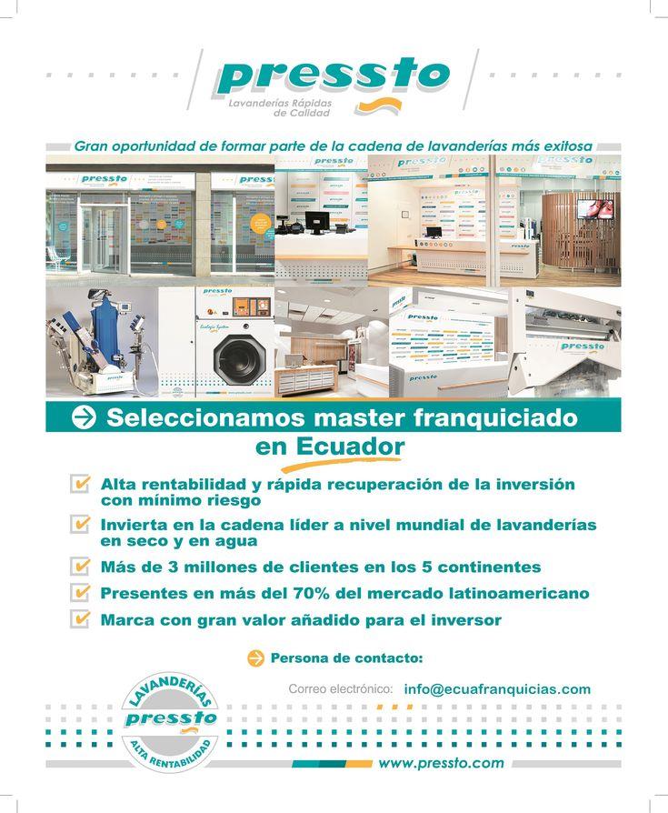 PRESSTO : franquicias disponibles en ecuador, franquicias ecuador, franquicia pressto, franquicia lavado en seco, tintorería, franquicia master