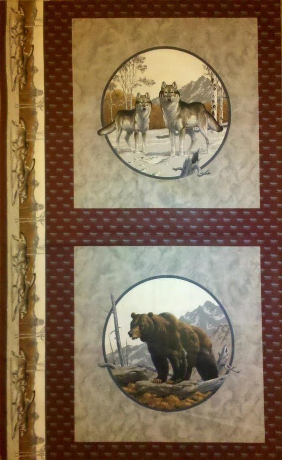 Grey Wolf Brown Bear Fabric Pillow Panel Quilt Block