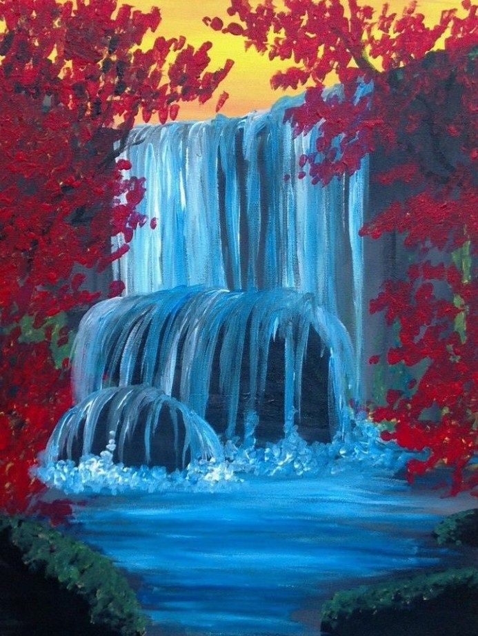 40 Acrylic Painting Ideas For Beginners Brighter Craft Easy Landscape Paintings Beginner Painting Waterfall Paintings