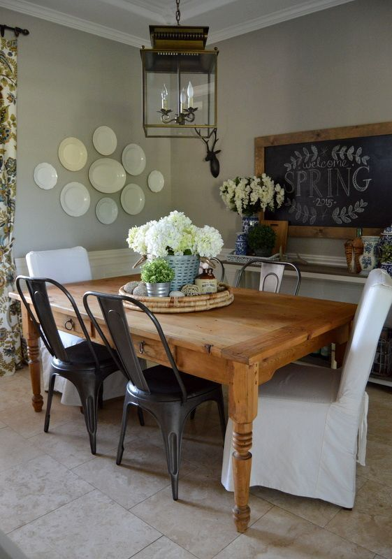 Spring Dining Room with rustic chairs and chalkboard frame | Home Remedies