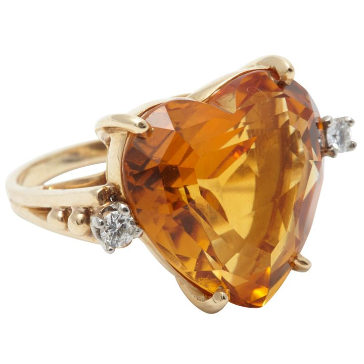 Tiffany & Co. Citrine Diamond Gold Dress Ring | From a unique collection of vintage cocktail rings at http://www.1stdibs.com/jewelry/rings/cocktail-rings/