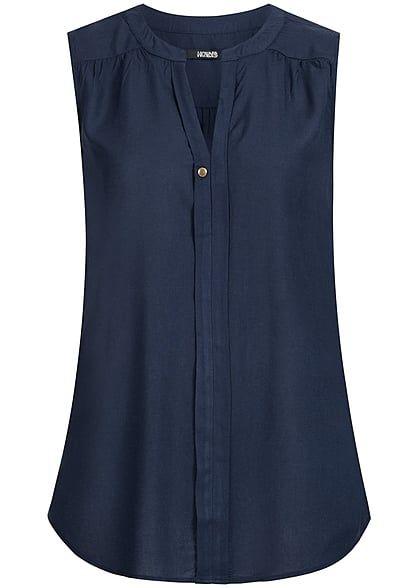 Hailys Damen Blusen Top ärmellos V-Ausschnitt vorne Deko Knopf navy blau