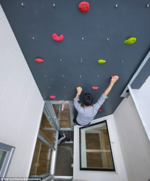 A 23ft climbing wall is located in the central courtyard of this house in Tokyo, Japan which allows climbers to reach the first floor and the rooftop terrace