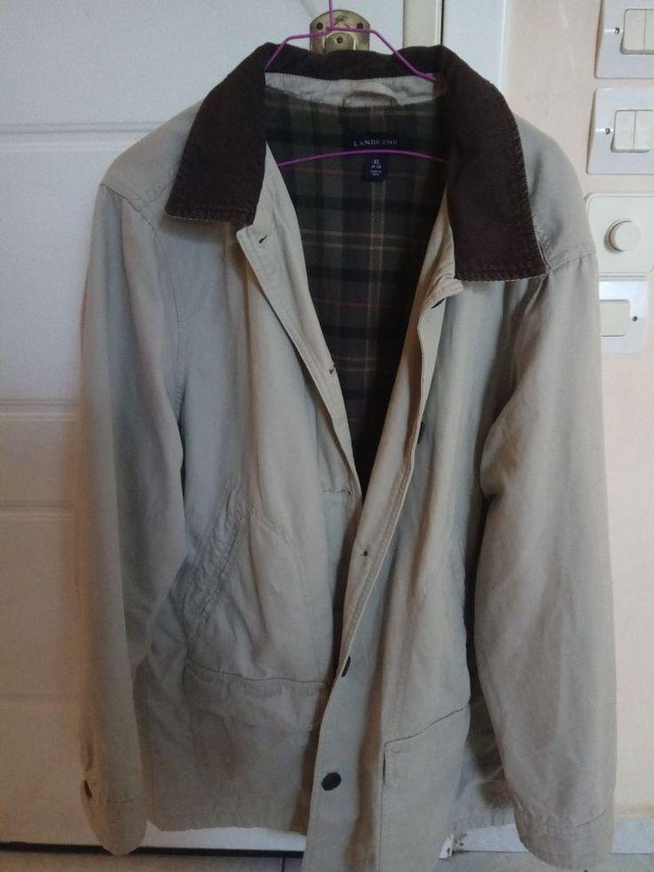 vintage Land's End men's jacket in beige colour CORDUROY COLLAR  XL size  #LandsEnd