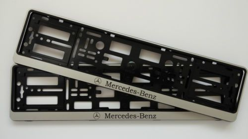 SILVER ABS NUMBER PLATE SURROUNDS HOLDER FRAME FOR MERCEDES BENZ CAR