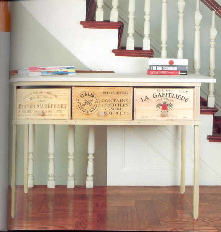 wooden wine box table