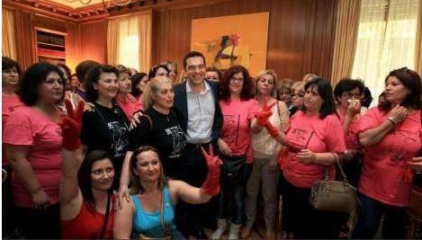 Le donne delle pulizie riassunte a #Tsipras :  Vi dobbiamo ringraziare perché siete esempio di lotta contro l'ingiusta sociale