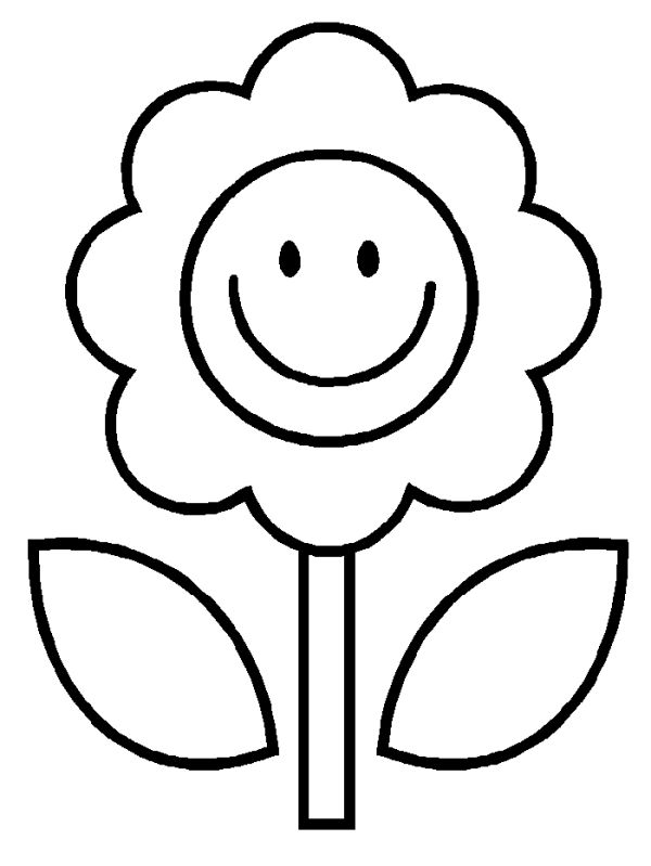 easy flower coloring page for kids do coloring pagescom - Pictures For Kids To Colour