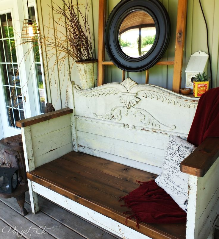 Finished bench | Vin'yet Etc.  antique headboard turned into unique porch seating. Would look great indoor too!