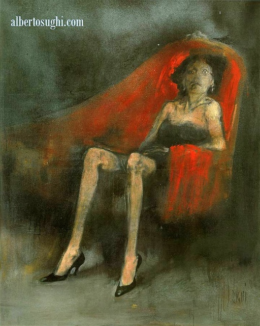 Sughi, Alberto (1928- ) - 1959 Woman on a Red Sofa (Private Collection) Sughi was born in Cesena, Emilia-Romagna. A self-taught painter, by the end of his formative years he had become one of the greatest Italian artists of his generation. He started painting in the early 1950s, choosing realism in the debate between abstract and figurative art in the immediate post-war period. Even from his early works, however, Sughi's paintings have avoided any attempt at social moralising.