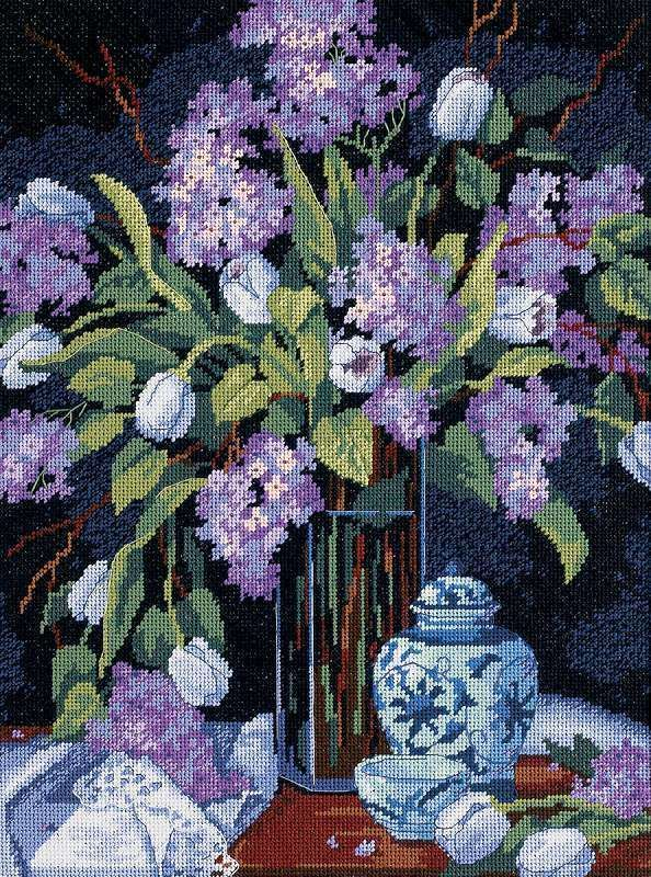 Tulips Lilacs Needlepoint Kit 12 X16 Stitched In Floss 088677200671 Dimensions Needlepoint Kits Needlepoint Needlecraft