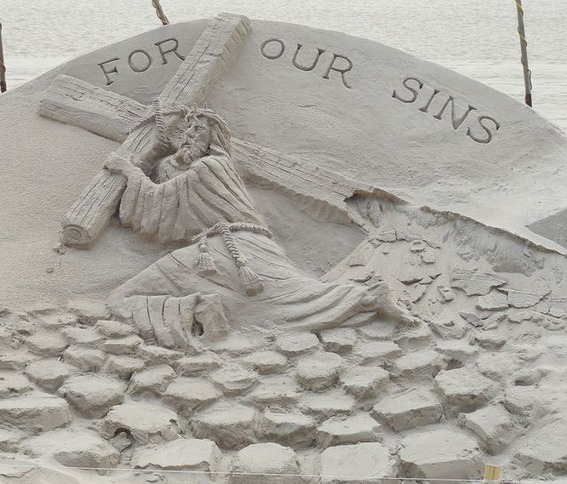 beautiful sand art...our sins put Jesus on the cross. He died for us so we might have eternal life...