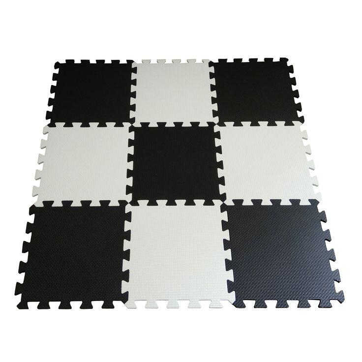9pcs Soft EVA Foam Baby Children Kids Play Mat Black White Color Puzzle Mats Floor Jigsaw Mats 31.5 x 31.5 x 1cm for Unisex