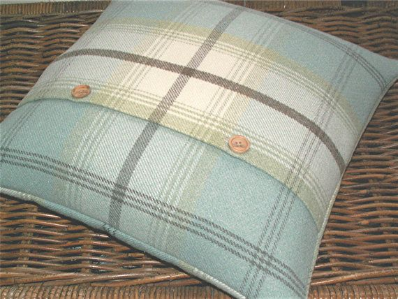 Cushion cover in a beautiful country check / tartan in mellow shades of duck egg blue, eau -de -nil, pale green and cream with a smidgen of brown.. A