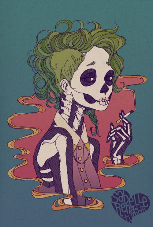 dead, girl, smoking, design, illustration, green hair,