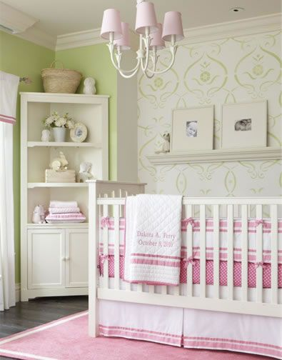 I love the green stencil on the wall. Replace the pink with a dusty lavender and it would be perfect.