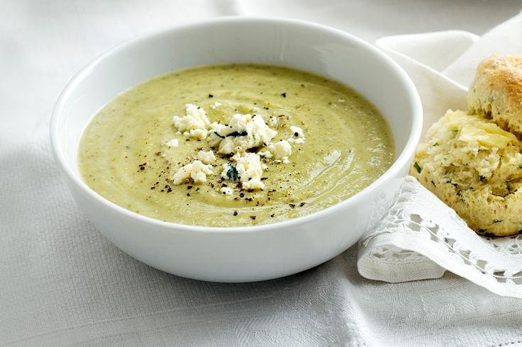 Serve this broccoli, zucchini and blue cheese soup with sage scones. It's also lovely with goats cheese.