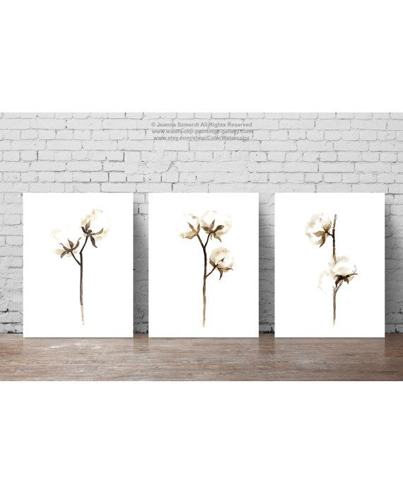 Cotton Painting Shabby Chic Decor, White Brown Minimalist Flower Watercolor Fine Art Print, Floral Wall Decor Cotton Bolls Rustic Decoration