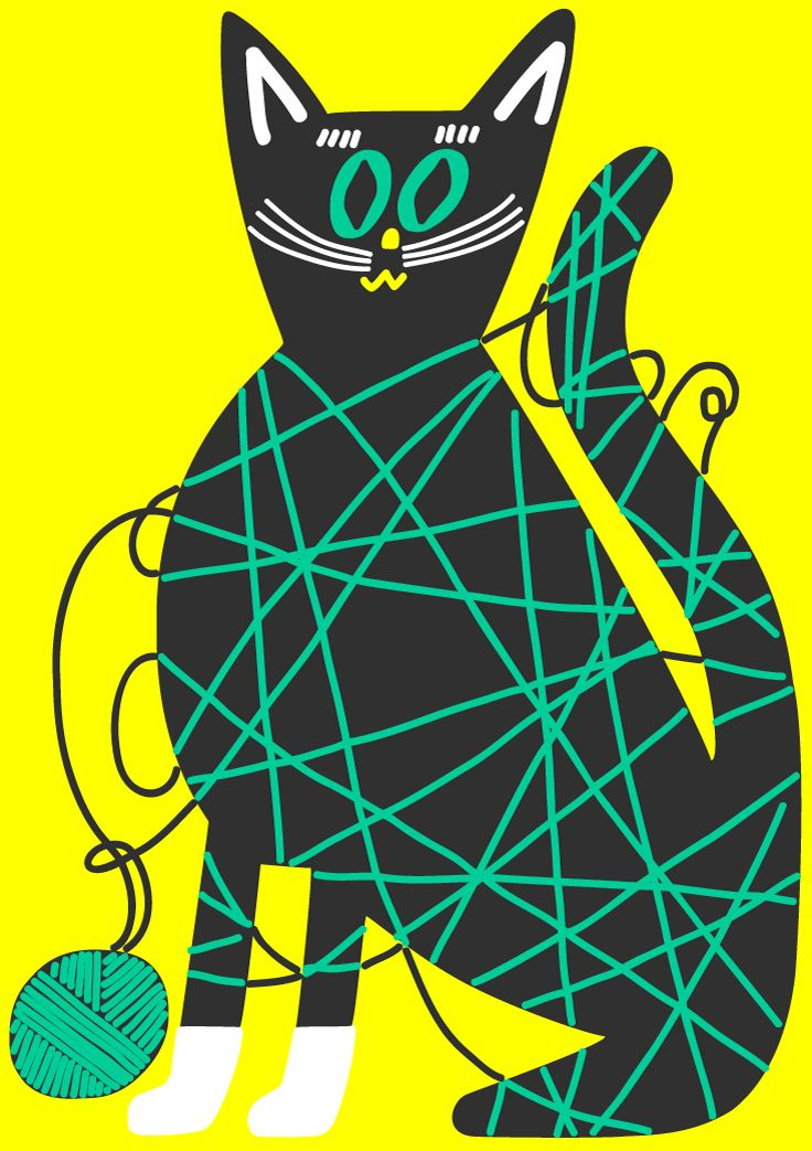 naughty kitty: Ideas, Diy'S, Black Cats, Yarns, Container Cat, Cartoon Cats, Yarn Container, Cats Big, Cat Proof