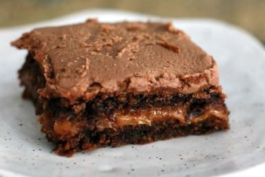 Fabulous Turtle Cake Made With a Cake Mix: This moist chocolate turtle cake is baked with a caramel center.
