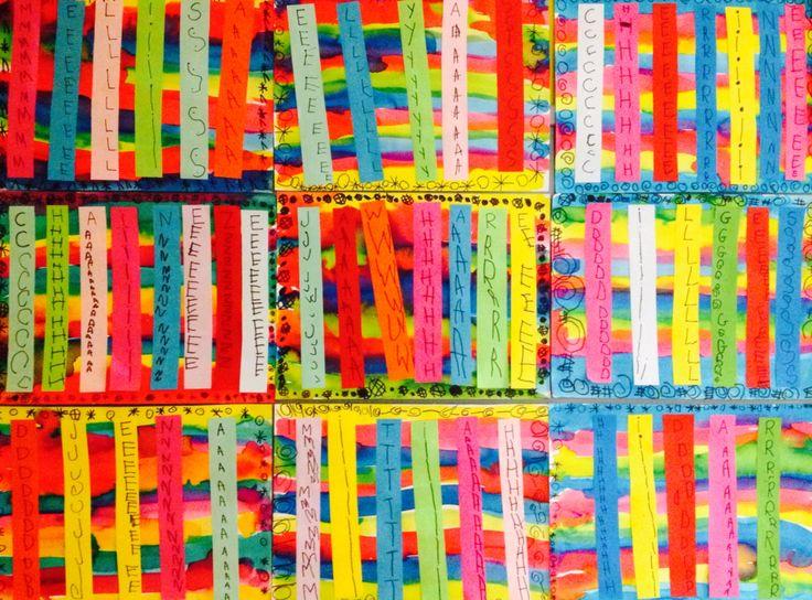 Écriture prénom MS-bandes de papier, encres colorées, feutres