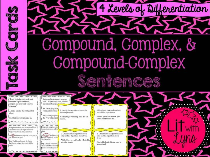 This Common Core aligned product is a great way to help your students with varying sentence structure.  What's included:  • 28 task cards that allow students to practice compound, complex, and compound-complex sentences (3 sets of 8). • 4 task cards that provide examples, as well as identify the independent and dependent clauses on each card.
