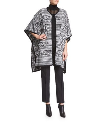 3/4-Sleeve+Plaid+Intarsia+Cape,+Sleeveless+Mock-Neck+Pullover+W/Camisole+&+Tusko+Straight-Leg+Ankle+Pants+by+Escada+at+Neiman+Marcus.