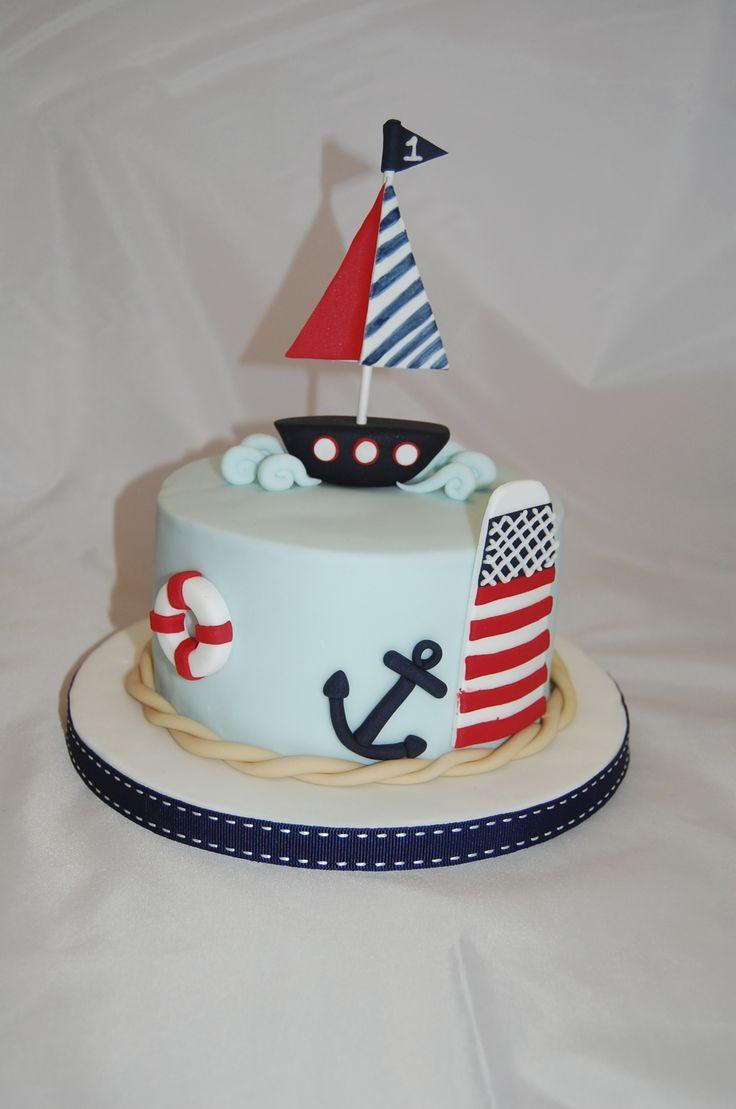 Boy's first Birthday Cake boat nautical www.s-k-cakes.co.uk