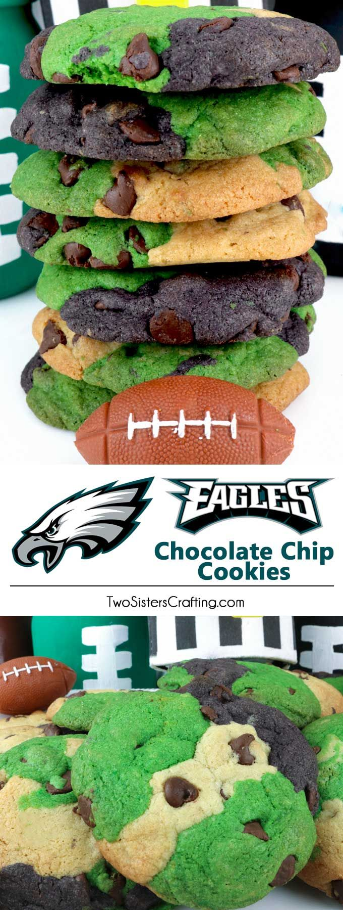 Philadelphia Eagles Chocolate Chip Cookies - - a classic cookie recipe suited up in team colors. Super easy to make and it will definitely wow your family and friends at a Football Game Day Event or a Super Bowl Party. Go Eagles! #PhiladelphiaEagles #Eagles #GameDayTreat #SuperBowl #SuperBowlParty #PhiladelphiaEaglesFood via @2SistersCraft