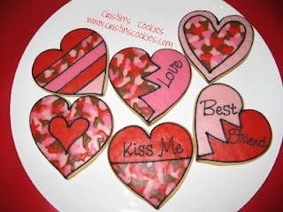 Camo cookies for Valentines Day by Cristin's Cookies
