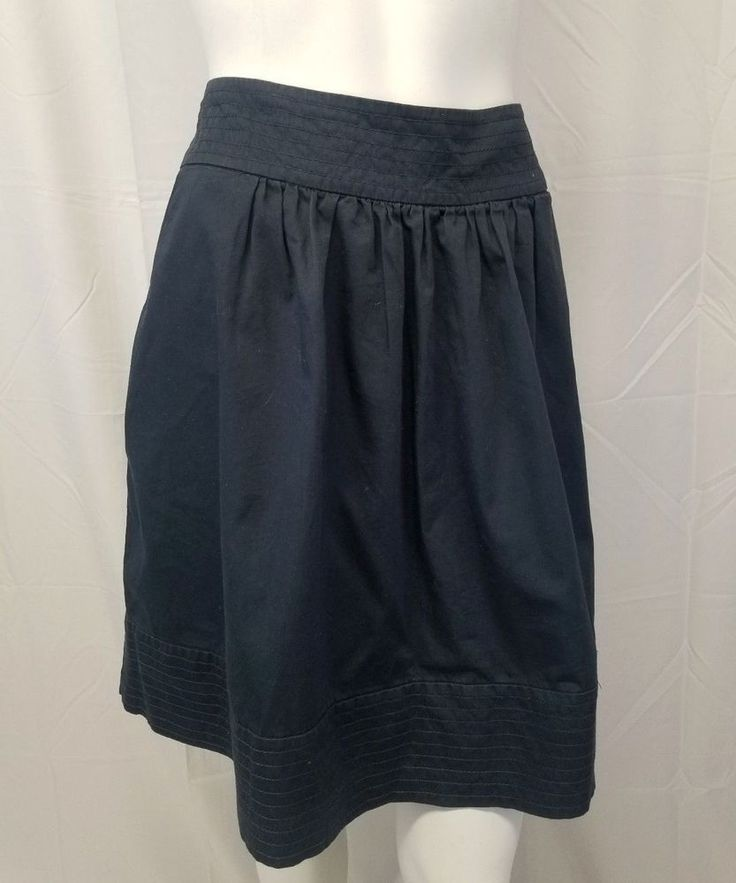 ODILLE Anthropologie Navy Blue Cotton Skirt Fully Lined w/ Pockets Womens 10 #Odille #FullSkirt