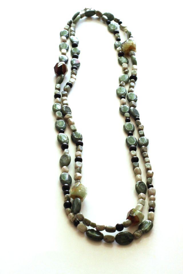 Earthly Necklace: Black and Green Agate, Jasper, Prehnite, Glass
