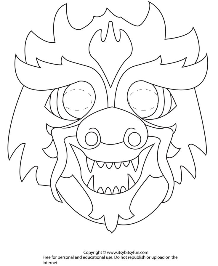 Dragon mask outline pictures to pin on pinterest pinsdaddy for Chinese dragon face template