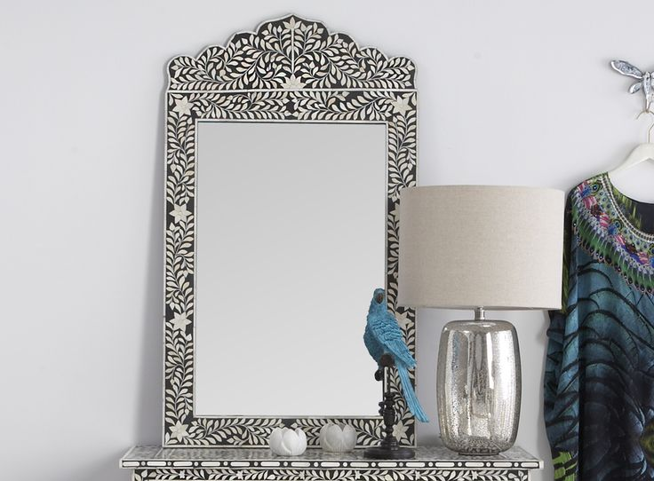 Black & Bone Inlay Crested Mirror - Zohi Interiors