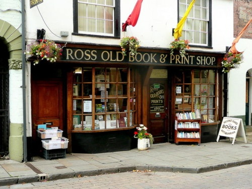 Ross Old Book and Print Shop in Ross-on-Wye, Herefordshire (UK)