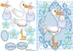 "Cute Baby Boy Delivery By Stork on Craftsuprint designed by Amy Perry - Cute Baby Boy Delivery By Stork in lovely blue ornate frame with corner flowers, also has decoupage and choice of tag ""Congratulations"" ""Baby Boy"" and a blank tag for your own sentiment - Now available for download!"