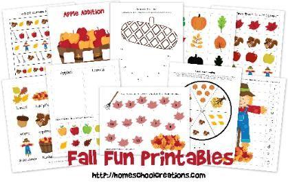 Gratis lespakket herfst kleuters / free printable pack fall preschool