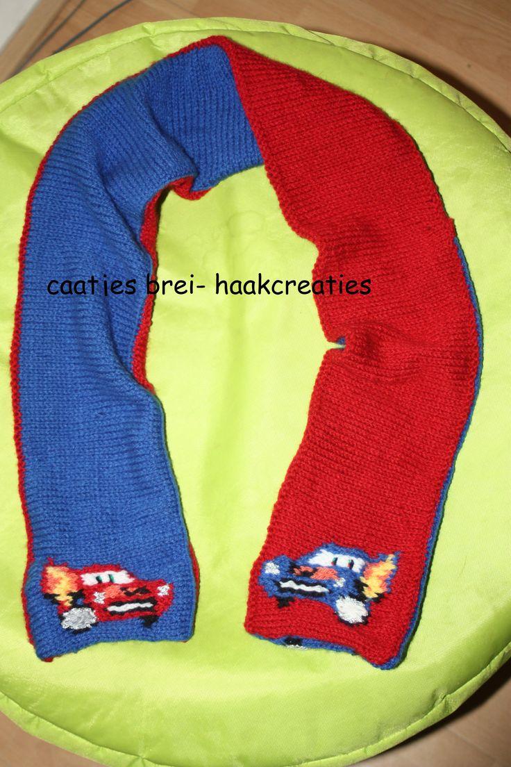 cars sjaal  Rode en blauwe kant