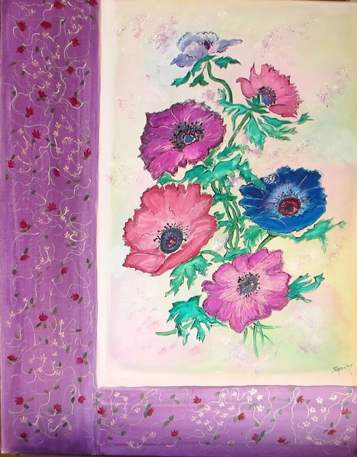 """Tableau acrylique sur toile 50 x 40 cm """"Anémones"""", art figuratif, peinture fleurs : Peintures par passerose"""