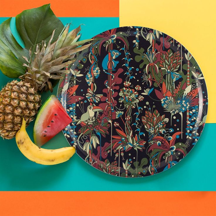 GO BANANA and pineapple with Floresta - Tropical, a tray collection by Plattform Studio www.plattformstudio.com Print and pattern design