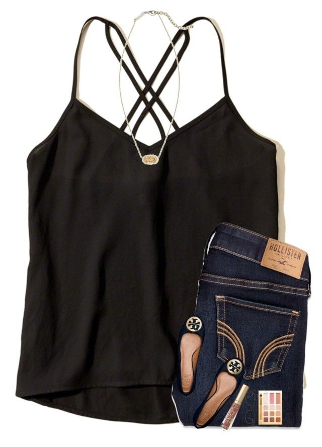 """""""Last day of vbs tomorrow"""" by sweettoothegj ❤ liked on Polyvore featuring Hollister Co., Tory Burch and Ray-Ban"""